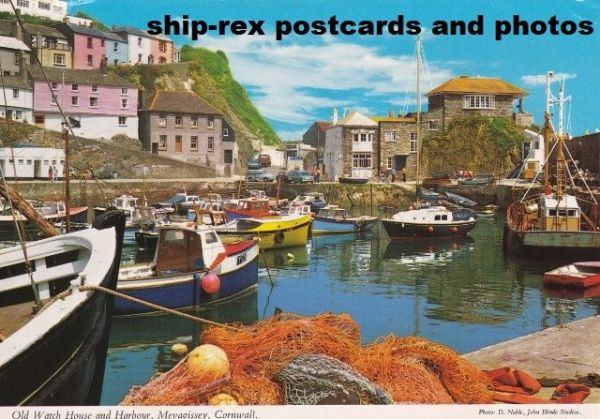 Mevagissey (Cornwall) harbour, postcard (c)
